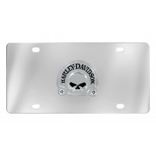 Front Plate - 3d Skull Chrome Emblem On Stainless Steel Plate