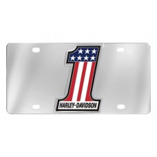 Front Plate - With Chrome  - #1 Shape 3 Color Usa Flag Emblem