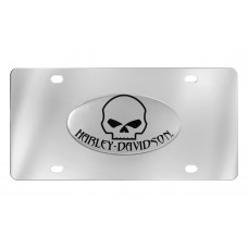 Front Plate - With Chrome Oval Skull & Harley-Davidson Emblem
