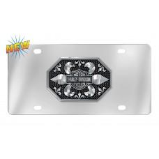 Harley Davidson Plate - B&S Fleur de lis Distressed Look