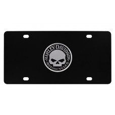"Harley Davidson Black Front Plate w/ ""Willie G. Skull"" Chrome Emblem"