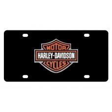 Harley Davidson Black Front Plate w/ Color B&S logo Chrome Emblem