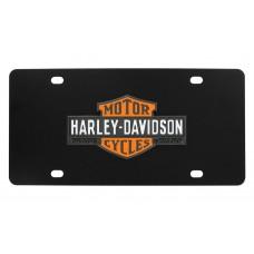 Harley Davidson Black Front Plate - Vintage 3 color bar and shield Black emblem