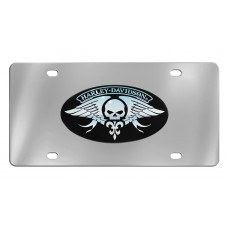 Harley Davidson Front plate w/ HD & Skull Wings - Chrome Imprint on Black
