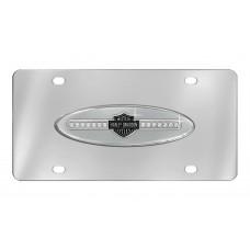 Harley Davidson Crystal B&S Front Plate w/ Clear B&S Crystal Strip on Chrome Oval Emblem