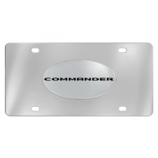 Jeep - Commander - Chrome Plated Solid Brass Emblem  Attached To A Stainless Steel Plate