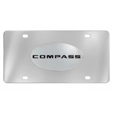 Jeep - Compass - Chrome Plated Solid Brass Emblem  Attached To A Stainless Steel Plate