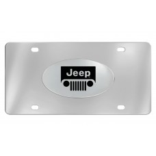 Jeep - Logo - Chrome Plated Solid Brass Emblem  Attached To A Stainless Steel Plate