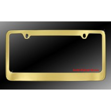 2-Hole Gold Plated Solid Brass License Plate Frame with Thin Top and Thick Bottom Rim