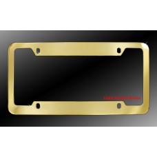 4-Hole Gold Plated Solid Brass License Plate Frame with Thick Top and Bottom Rim