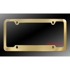 4-Hole Gold Plated Solid Brass License Plate Frame with Thin Top and Thick Bottom Rim