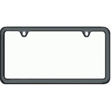 Black Thin-Top, Thin Bottom Solid Brass License Plate Frame