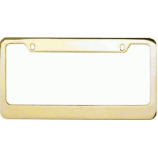 Gold Wide-Top 2 hole Solid Brass License Plate Frame