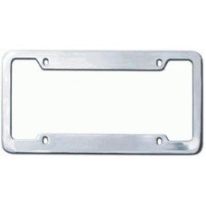 Chrome Plated Wide-Top 4-Hole Solid Brass License Plate Frame