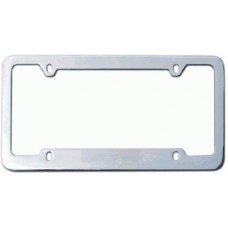 Chrome Plated Thin-Top 4-Hole Solid Brass License Plate Frame