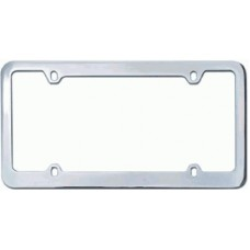 Chrome Plated Thin-Top, Thin-Bottom 4-Hole Solid Brass Licence Plate Frame