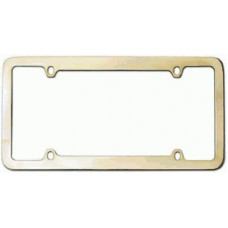 Gold Thin-Top, Thin-Bottom 4-Hole Solid Brass License Plate Frame