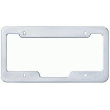 Chrome Plated Wide-Top, Notched Bottom 4-Hole Solid Brass License Plate Frame
