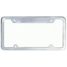 Chrome Plated Wide-Top, Thin Bottom 4-Hole Solid Brass License Plate Frame
