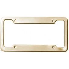 Gold Brass License Plate Frame- 4 Hole Wide Top & Bottom Rim