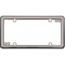 Nouveau Black Chrome License Plate Frame with fastener caps