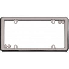 Nouveau Black Chrome License Plate Frame with fastener caps