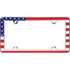 USA Flag Chrome License Plate Frame
