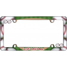 Live Baseball Chrome License Plate Frame w/fastener caps