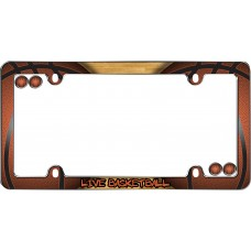 Live Basketball Chrome License Plate Frame w/fastener caps