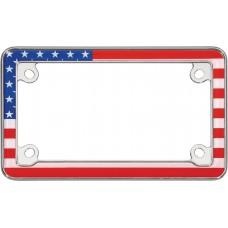 MC USA Flag Chrome License Plate Frame