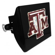 Plastic Texas A&M Color Logo Bling on Black Hitch Cover