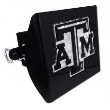 Plastic Texas A&M Black Logo Bling on Black Hitch Cover