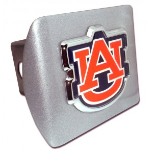 Auburn Color Logo on Brushed Steel Hitch Cover