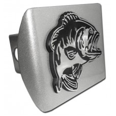 Bass on Brushed Steel Hitch Cover