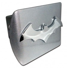 Batman 3D Logo Chrome on Brushed Steel Hitch Cover
