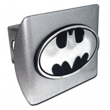Batman Oval Logo Chrome on Brushed Steel Hitch Cover