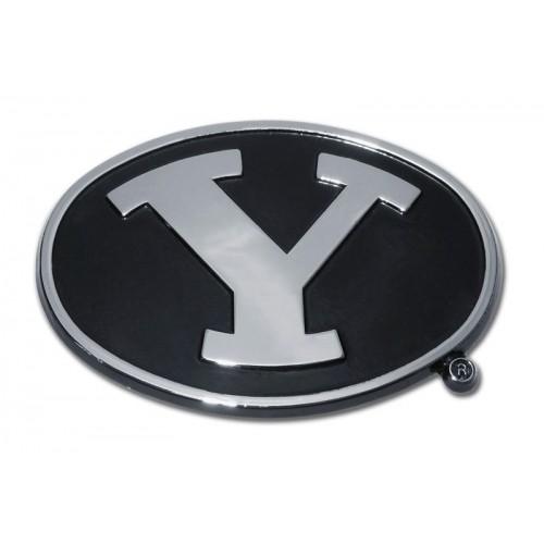byu black and chrome emblem college emblems autoplatescom