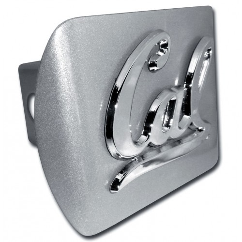 Cal Berkley Logo Chrome on Brushed Steel Hitch Cover