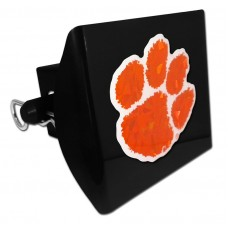Plastic Clemson Color Logo Bling on Black Hitch Cover