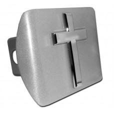 Basic Cross Chrome on Brushed Steel Hitch Cover
