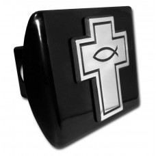 Fish in Cross Chrome on Black Hitch Cover