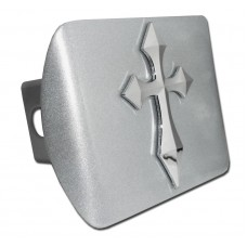 Pointed Cross Chrome on Brushed Steel Hitch Cover