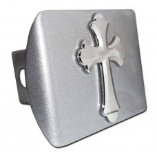 Ruffled Cross Chrome on Brushed Steel Hitch Cover