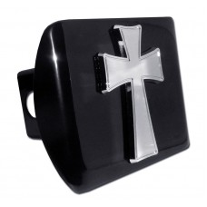Tapered Cross Chrome on Black Hitch Cover