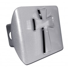 Tapered Cross Chrome on Brushed Steel Hitch Cover