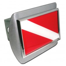 Dive Flag on Brushed Steel Hitch Cover