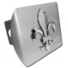 Fleur De Lis Chrome on Brushed Steel Hitch Cover