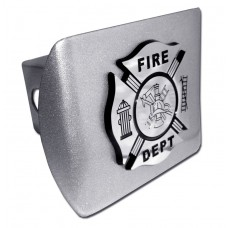 Fire Dept Logo on Brushed Steel Hitch Cover