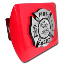 Fire Dept Logo on Red Hitch Cover