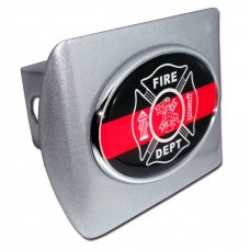 Fire Dept Oval Logo on Brushed Steel Hitch Cover